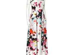Elie Saab White Floral Printed Sateen Strapless Evening Gown XS