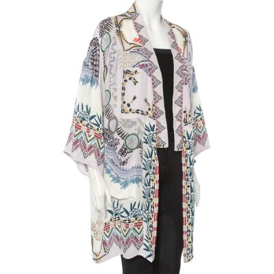 Etro Multicolor Abstract Printed Silk Open Front Oversized Shrug S