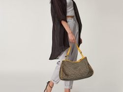 Fendi Beige/Yellow Zucca Canvas And Leather Shoulder Bag