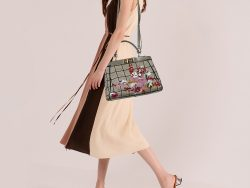 Fendi Multicolor Canvas And Leather Embroidered Peekaboo Top Handle Bag