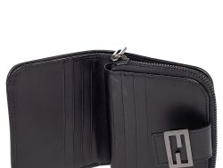 Fendi Black Zucchino Monogram Canvas and Leather Compact Zip Wallet