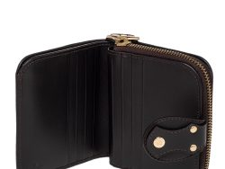 Fendi Tobacco Zucca Canvas and Leather Compact Zip Wallet