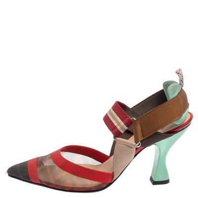Fendi Red/Brown Leather And Mesh Colibri Pumps Size 36