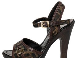 Fendi Brown Zucca Canvas And Leather Trims Ankle Strap Sandals Size 36