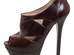 Fendi  Brown Python Leather  Embossed Booties Size 38.5