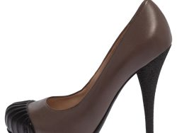 Fendi Brown Leather and Rubber Cap Toe Pumps Size 38.5
