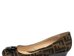 Fendi Tobacco Zucca Canvas and Patent Leather Wedge Pumps Size 40
