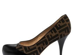 Fendi Brown/Black Zucca Canvas And Leather Pumps Size 40