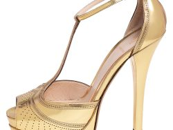 Fendi Gold Perforated Patent Leather T Strap Platform Sandals Size 38