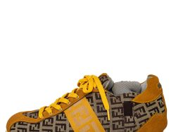 Fendi Brown/Yellow Zucca Canvas And Suede Low Top Sneakers Size 37.5