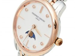 Frederique Constant Mother of Pearl Two-Tone Stainless Steel Slim Line FC-206MPWD1S2B Women's Wristwatch 30 mm