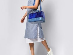 Furla Blue Rubber and Croc Embossed Leather Medium Candy Satchel