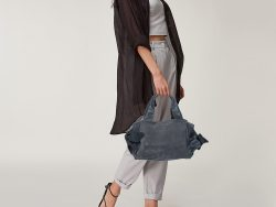 Furla Grey Suede and Leather Side Bow Satchel