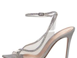 Gianvito Rossi Silver Shimmer Leather And PVC Crystelle Embellished Ankle Strap Sandals Size 38.5