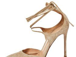 Gianvito Rossi Beige Suede Ankle Wrap Sandals Size 37.5