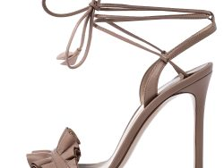 Gianvito Rossi Beige Leather Ruffled Ankle Wrap Sandals Size 36