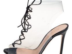 Gianvito Rossi Black PVC And Leather Helmut Lace Up Booties Size 36.5