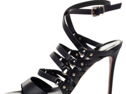 Gianvito Rossi Black Leather Strappy Ankle Wrap Sandals Size 40