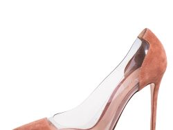 Gianvito Rossi Beige Suede and PVC Plexi Pointed Toe Pumps Size 41