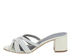 Gina Pale Green Croc Embossed Leather Dexie Slide Sandals Size 39.5