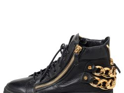 Giuseppe Zanotti Black Leather Chain Embellished Low Top Sneakers Size 38