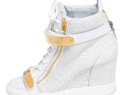 Giuseppe Zanotti White Croc Embossed Leather Lorenz Wedge High Top Sneakers Size 39