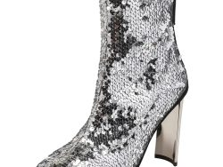 Giuseppe Zanotti Silver Sequin Embellished Ankle Boots Size 36