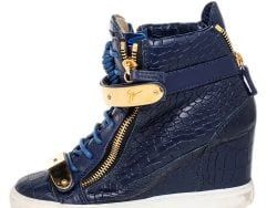 Giuseppe Zanotti Blue Croc Embossed Leather Coby Wedge Sneakers Size 38.5