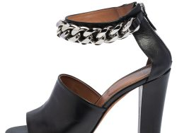 Givenchy Black Leather Chain Detail Ankle Cuff Sandals Size 38.5