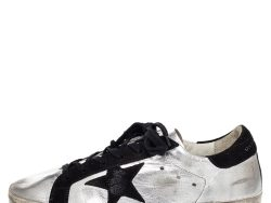 Golden Goose Silver/Black Metallic Leather And Suede Superstar Sneakers Size 40