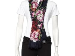Gucci Navy Blue Floral Printed Modal & Silk Square Scarf