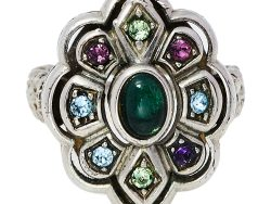 Gucci Multicolor Crystal Silver Tone Flower Ring 14
