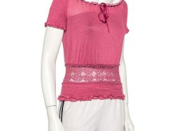 Gucci Pink Knit & Lace Paneled Ruched Detail Top M