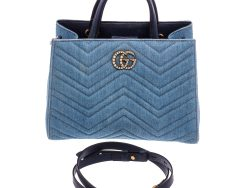 Gucci Blue Denim GG Marmont Pearly Bag