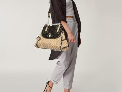 Gucci Beige/Grey Canvas and Leather Bamboo Satchel