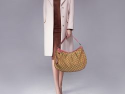 Gucci Old Rose/Beige GG Canvas and Leather Medium Sukey Hobo