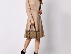 Gucci Beige/Brown GG Canvas and Leather Small Abbey Tote