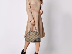 Gucci Beige/Brown GG Canvas And Leather Dome Satchel