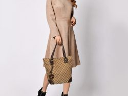 Gucci Brown/Beige GG Canvas and Leather Charm Tote