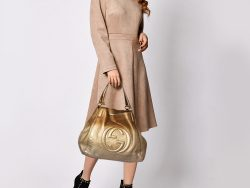 Gucci Gold Ombre Pebbled Leather Soho Top Handle Tote