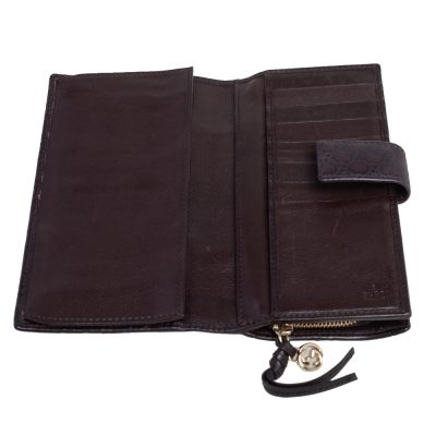 Gucci  Dark Brown Guccissima Leather Continental Flap Wallet
