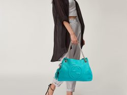 Gucci Turquoise Leather Medium Soho Chain Tote
