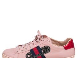 Gucci Pink Leather Crystal Embellished 'Safety Pin' Ace Low Top Sneakers Size 41