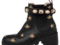 Gucci Black Leather Embroidered Crystal Embellished Ankle Boots Size 37.5