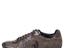 Gucci Brown GG Canvas And Leather Low Top Sneakers Size 38