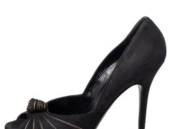 Gucci Black/Gold Suede Knotted Peep Toe Pumps Size 38.5