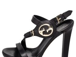 Gucci Black Leather Open Toe Ankle Strap Sandals Size 37