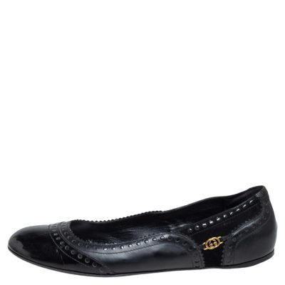 Gucci Black Suede and Leather Ballet Flats Size 41