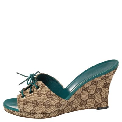 Gucci Beige/Brown GG Canvas Wedge Lace Up Slide Sandals Size 39