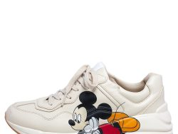 Gucci Beige Leather Disney Mickey Mouse Print Rhyton Sneakers Size 38